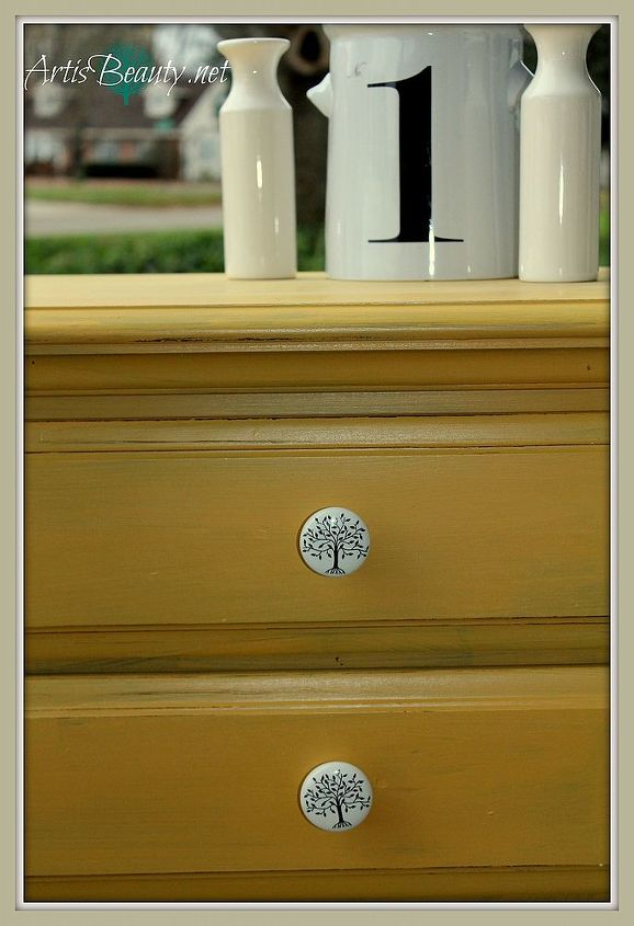 simple and elegant yellow dresser makeover paintedfurniture, painted furniture, The simple and elegant yellow dresser