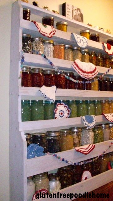 i needed a nice looking shelf to hold canning jars in my pantry, cleaning tips, closet, shelving ideas, I love the colorful display of fruits and vegetables both decorative and yummy