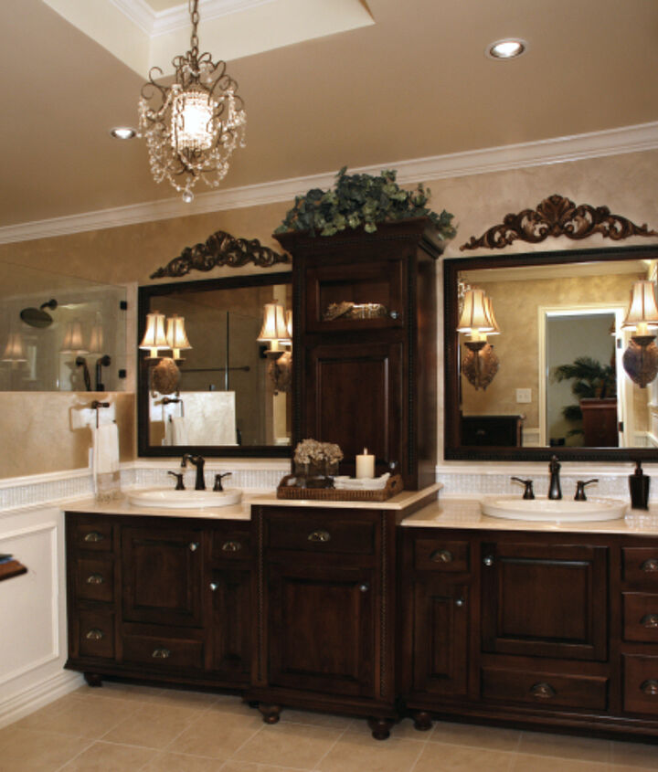 The fully remodeled bathroom with custom cabinets.