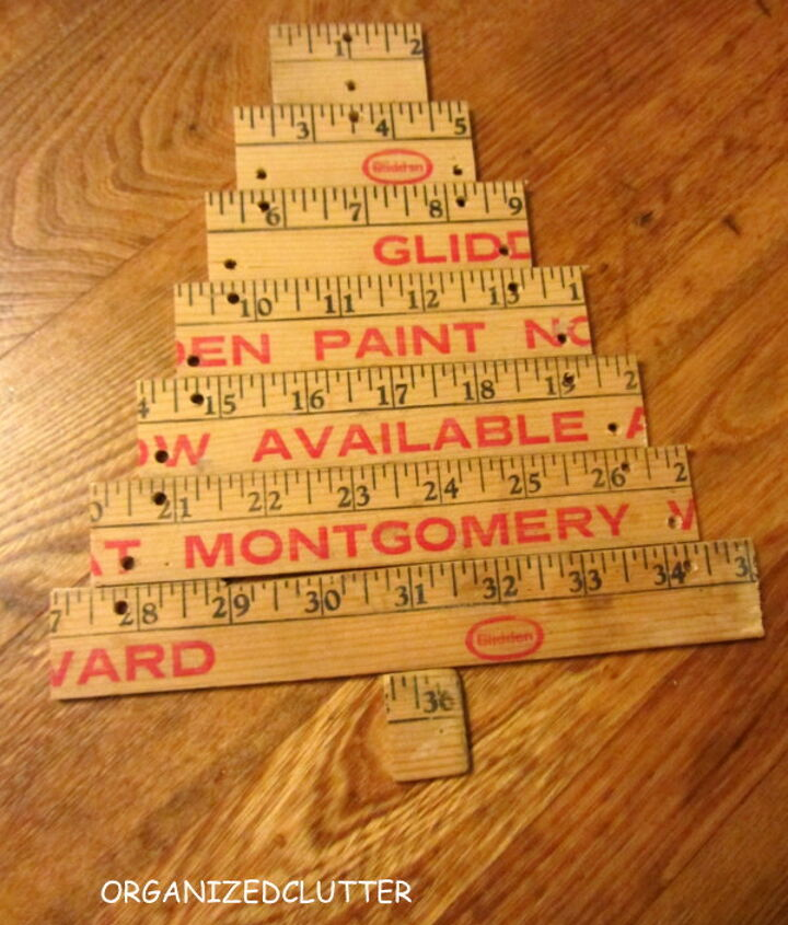 I had my husband saw a yardstick into eight pieces, and drill holes in each piece to attach them with jute.