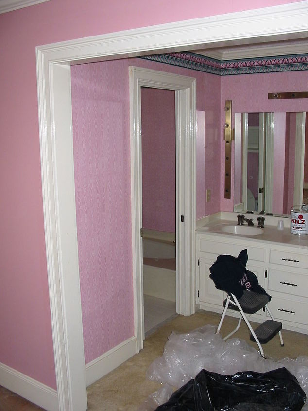 before and after pictures are always fun what will the neighbors think is there, bathroom ideas, home decor, This is what it looks like when I start a bathroom renovation What can one do with the pepto bismal wall paper What should vanity look like Will it fit in the space What kind of choices would you make