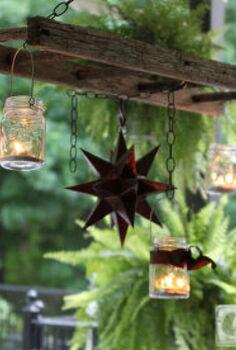 how to create a mason jar patio chandelier, mason jars, outdoor living, patio, repurposing upcycling, Hanging ladder with mason jars