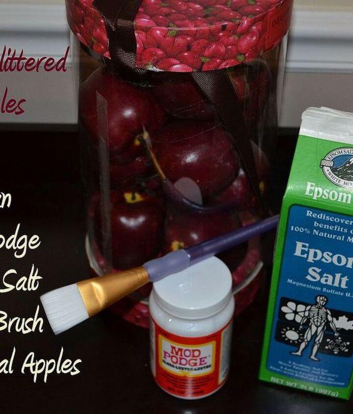 DIY Glittered Apples with Epsom Salt