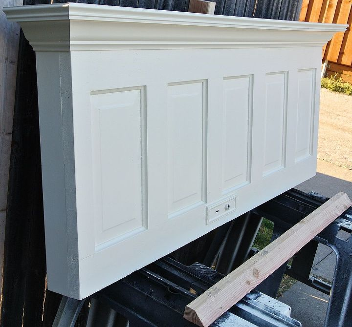 wall mounted 5 panel old door headboard painted popcorn white, bedroom ideas, doors, painted furniture, repurposing upcycling