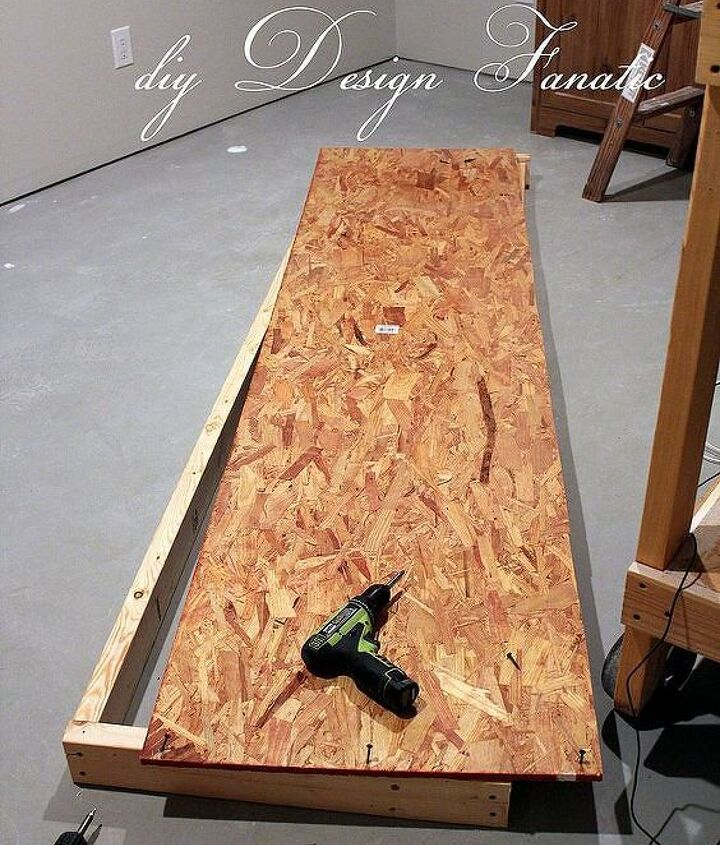 "Each shelf is 8 feet long and 2 feet wide to minimize cutting of materials.  They are easy to assemble from 2 x 4's and 1/2"" osb. The big box stores can cut the osb down for you at little or no charge."