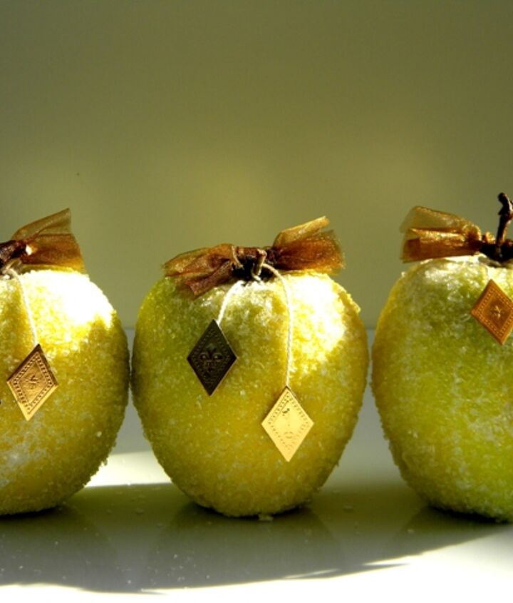 fall decor apples get a dusting of frost for winter, crafts, decoupage, seasonal holiday decor