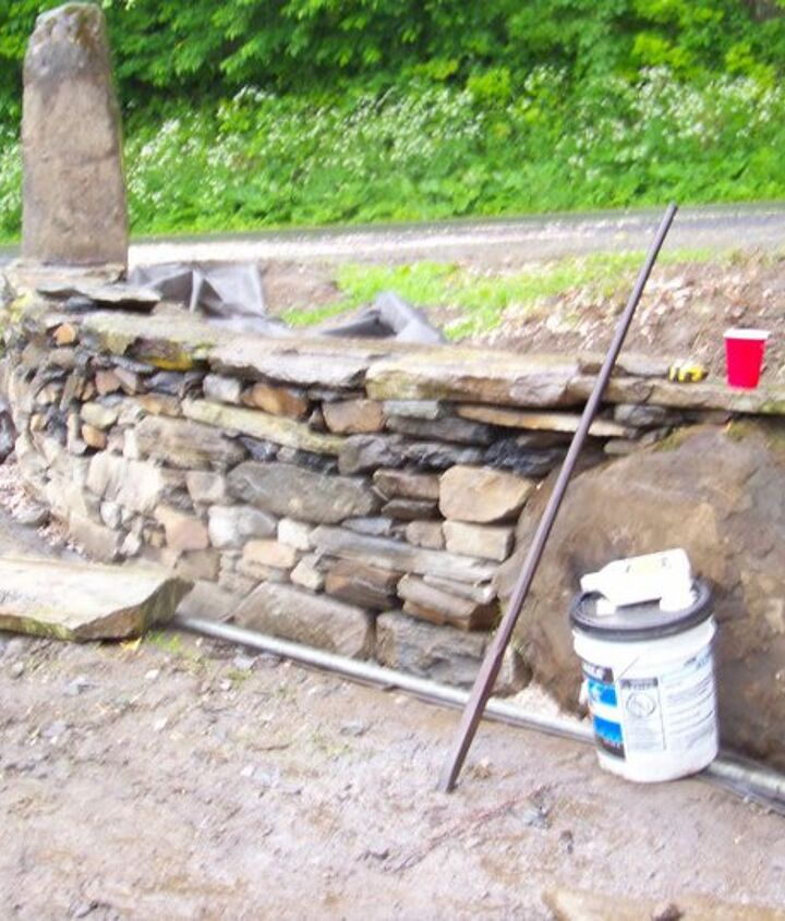 this wall was built with odds and ends that usealy get tossed aside, landscape, outdoor living
