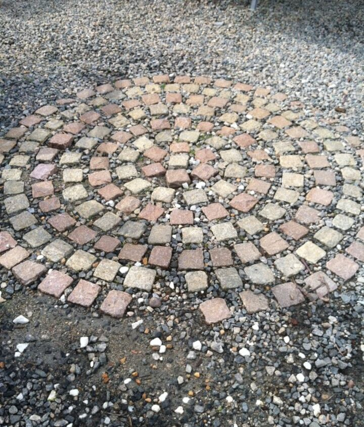recycled granite block patio, outdoor living, patio, This pattern I saw at a local nursery was my inspiration