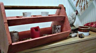 , My chalk painted tool caddy as candle holder and d cor item on our hallway bench in our Ranch homes mud room