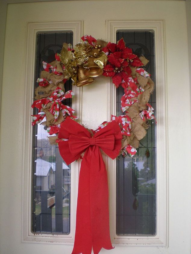 my new christmas wreath for my front door, christmas decorations, crafts, doors, seasonal holiday decor, wreaths