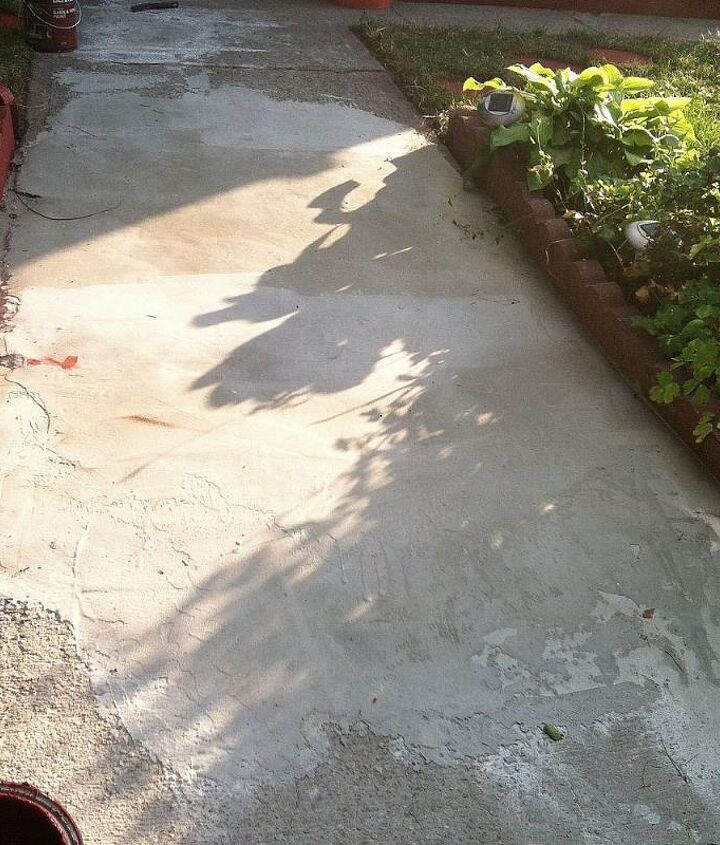 after I filled in the hole, I noticed that the hole was a different color then the rest of the front walk.