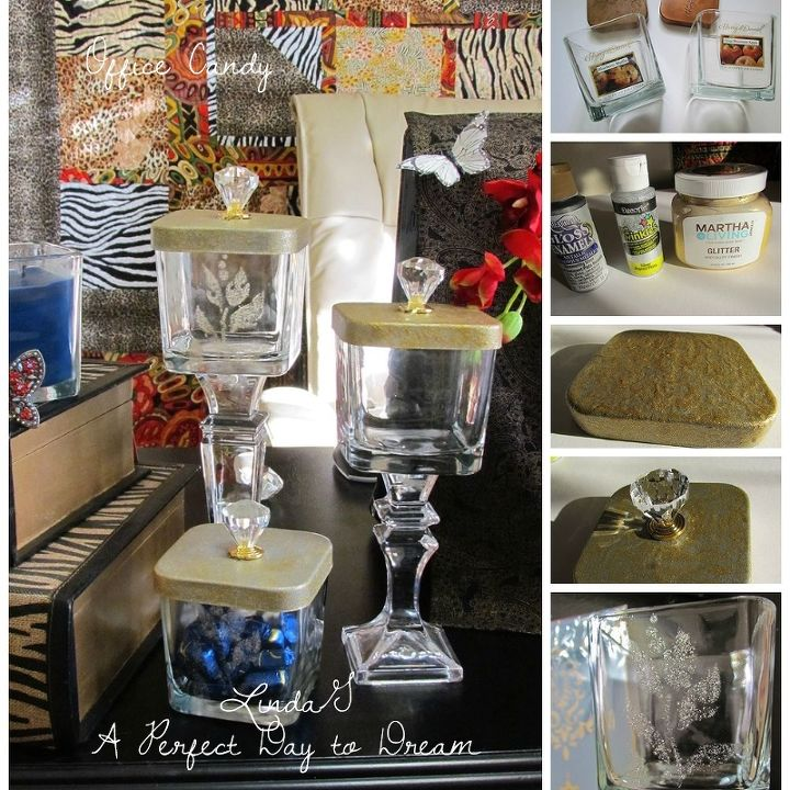 snack candy jars for office repurposed candle jars, crafts, repurposing upcycling