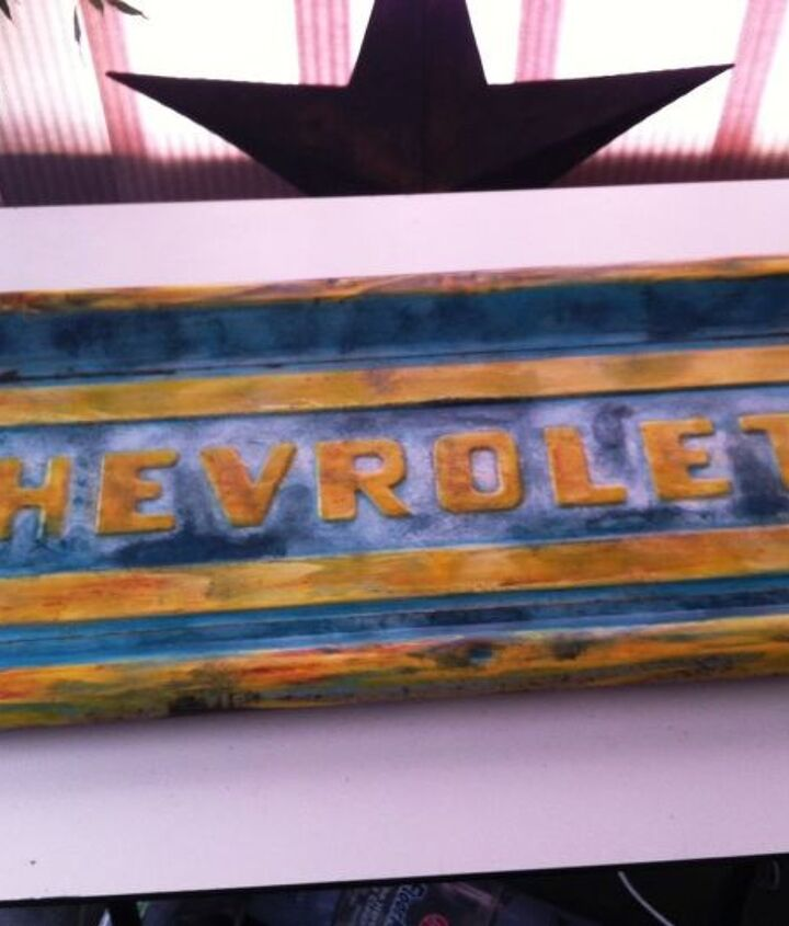AFTER:  A couple of hours with some acrylic paint and glossy sealer turned it into a cool piece of wall art.