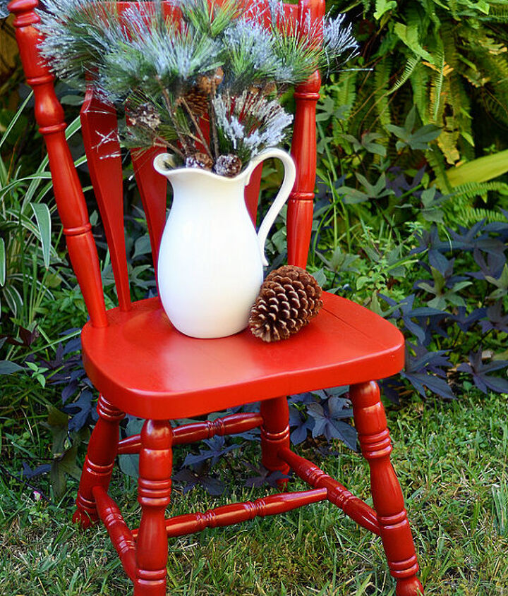 chair makeover for christmas time everyone needs a little red in their life, christmas decorations, painted furniture, seasonal holiday decor