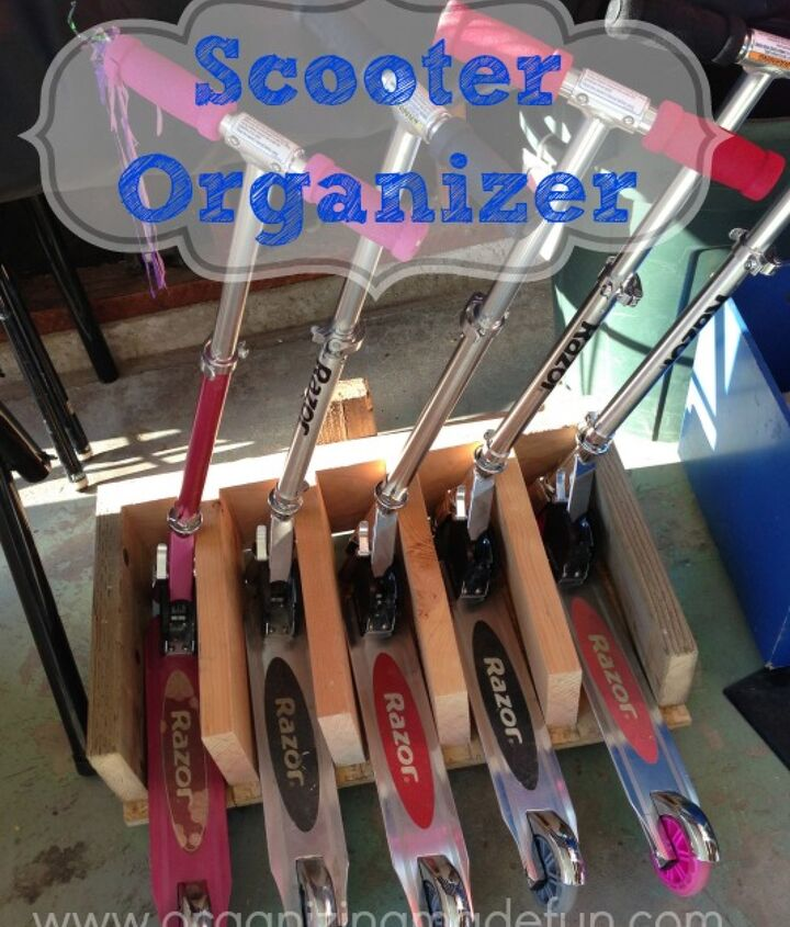 scooter stand organizer, garages, organizing, woodworking projects
