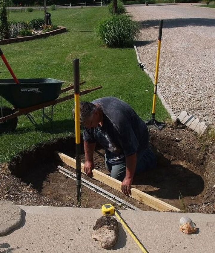and leveling the hole for the tire to be in the ground level.