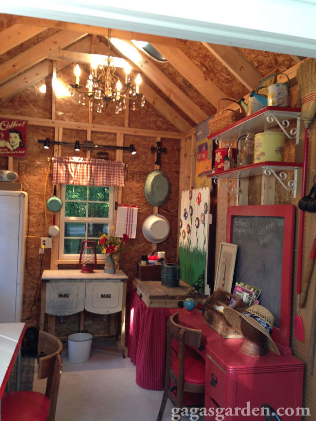 a teacher s dream garden shed, curb appeal, gardening, outdoor living, A teacher s theme all around with an antique brass and crystal chandelier