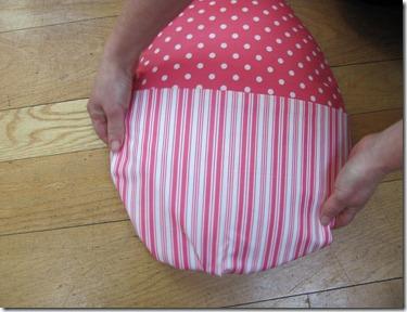 I put a pocket on the egg out of fabric so that I could fill it with flowers or etc.