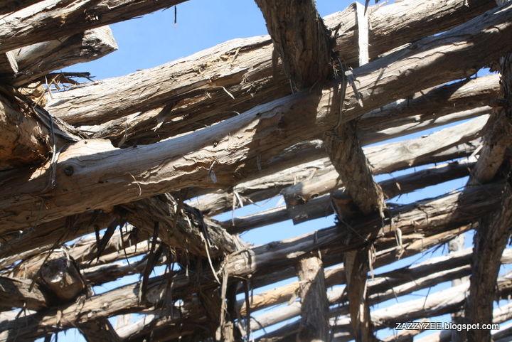 A cedar roof placed over my vegetable garden, shielding a bit from the treacherous Texas sun.