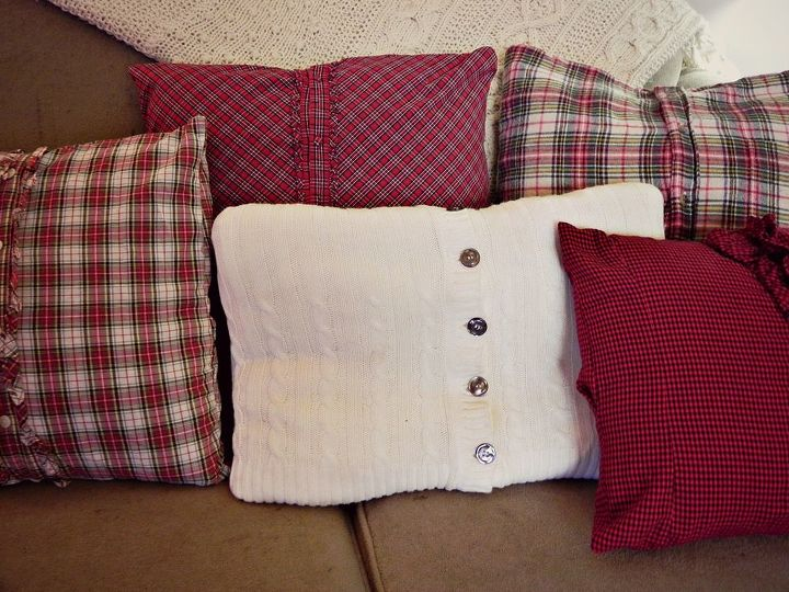 Each of these throw pillow covers was made from thrift store shirts and sweaters.  http://www.madincrafts.com/2013/11/plaid-thrift-store-shirts-to-cozy-throw.html