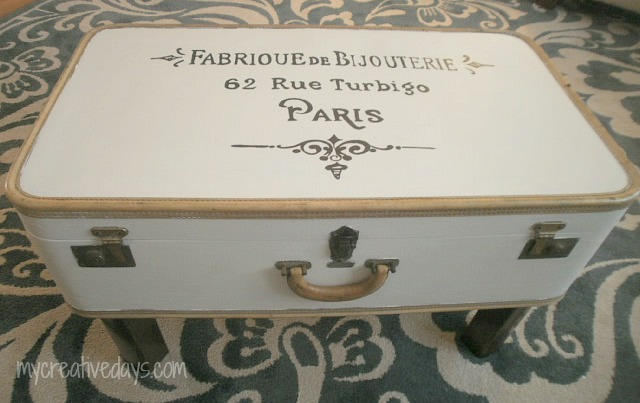 French Typography Suitcase Table