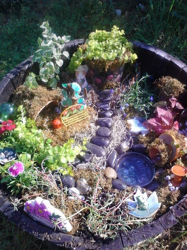 making a fairy garden from objects mostly found at the thrift store hometalk. Black Bedroom Furniture Sets. Home Design Ideas