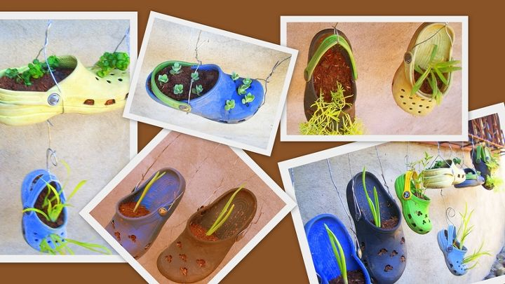 old and worn out crocs repurposed as planters, gardening, repurposing upcycling