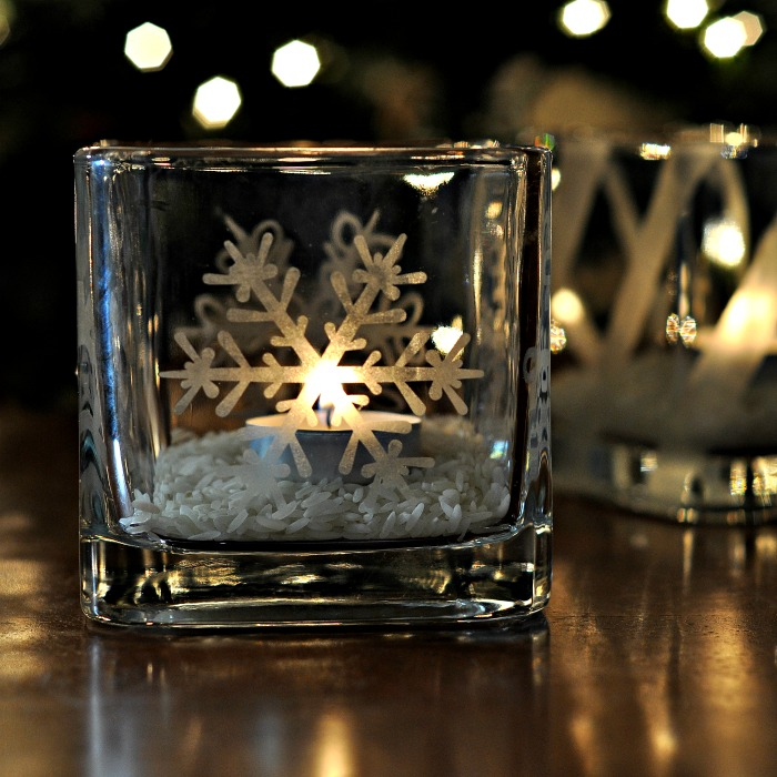 create your own etched glass candleholders it s easy, christmas decorations, crafts, seasonal holiday decor, There s something so magical about candlelight and the holidays isn t there