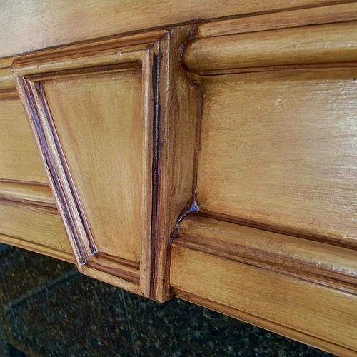 fireplace mantel saved, fireplaces mantels, painting, woodworking projects, Detail of keystone