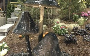 fountains and small water features, landscape, outdoor living, ponds water features, These mushrooms would be right at home in a fairy garden