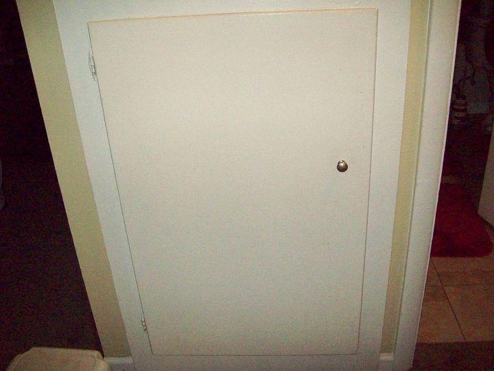 working on updating the ugly linen closet doors, doors, Before
