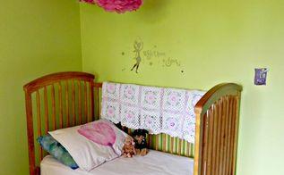 diy fairy garden bedroom, bedroom ideas, crafts, home decor, Toddler bed handmade afghan and bedskirt under tissue flowers
