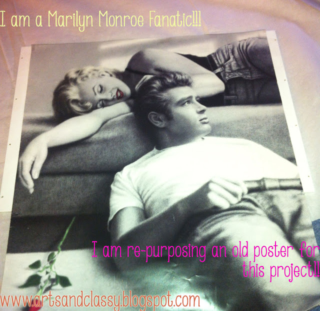 """I decided to re-purpose an old Marilyn Monroe Poster I had to tie in the shelf with the rest of my """"Marilyn-themed"""" stairwell entryway."""