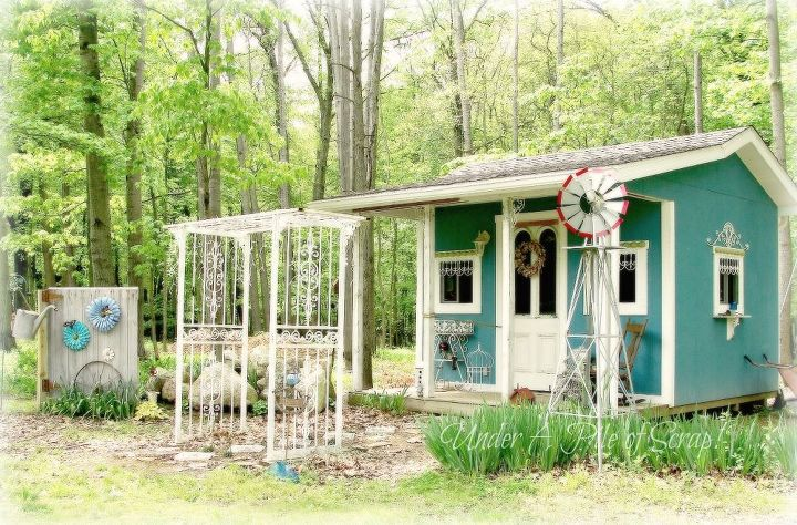 Teal Blue & White Garden Shed made from mostly reused & recycled items