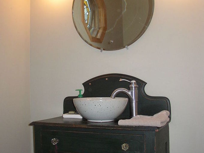 two options for repurposing furniture for bathroom vanities aka, bathroom ideas, painted furniture, repurposing upcycling, Option 1 Add a Vessel Sink and a Bar Faucet Bar Drain to the top Easy to Drill a 1 5 8 2 1 4 hole Top was fortified with clear coat poly With a vessel it needed it