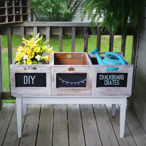 DIY Chalkboard Distressed Crates via Saved by Love Creations