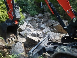 pondless waterfall renovation in northern new jersey, landscape, outdoor living, ponds water features, Before Non Functioning Pondless Waterfall in Long Valley NJ