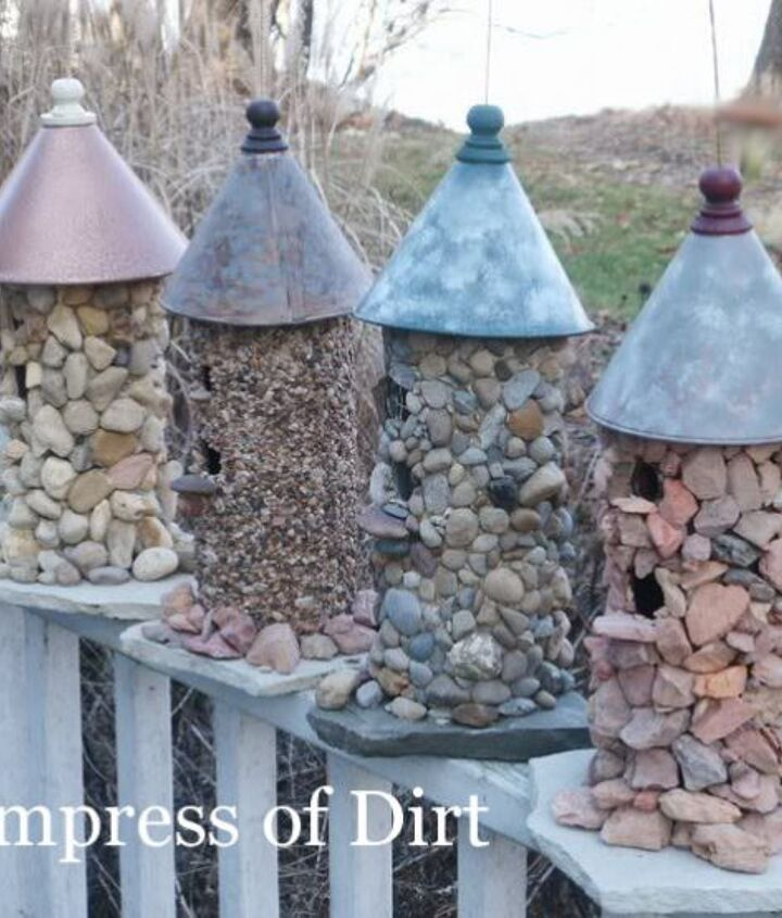 Turn an unfinished birdhouse into something wonderful. Here we used different colours of stones and funnels on top.