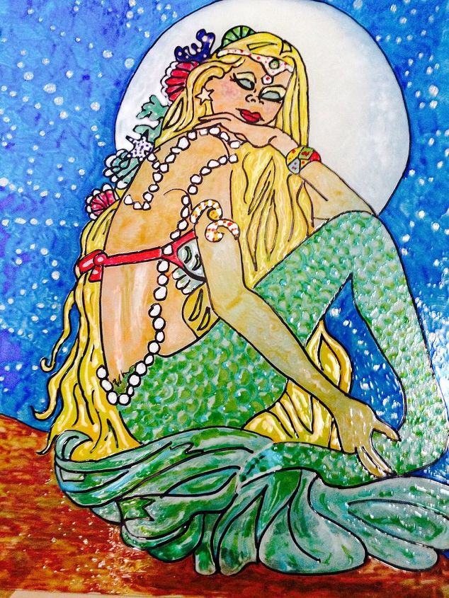 thrift store frame hand painted stain glass mermaid, crafts, painting