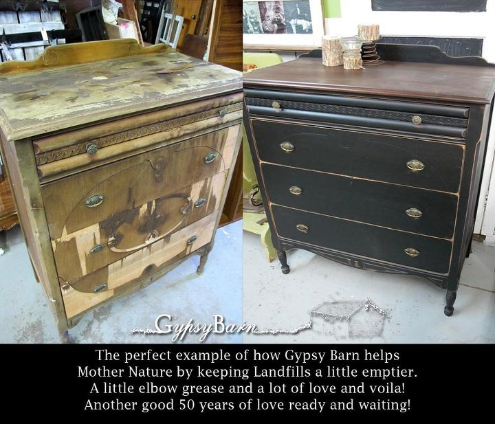 before and after disaster to diva, painted furniture