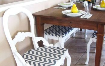 revamped old chairs with white paint and chevron patterned fabric!