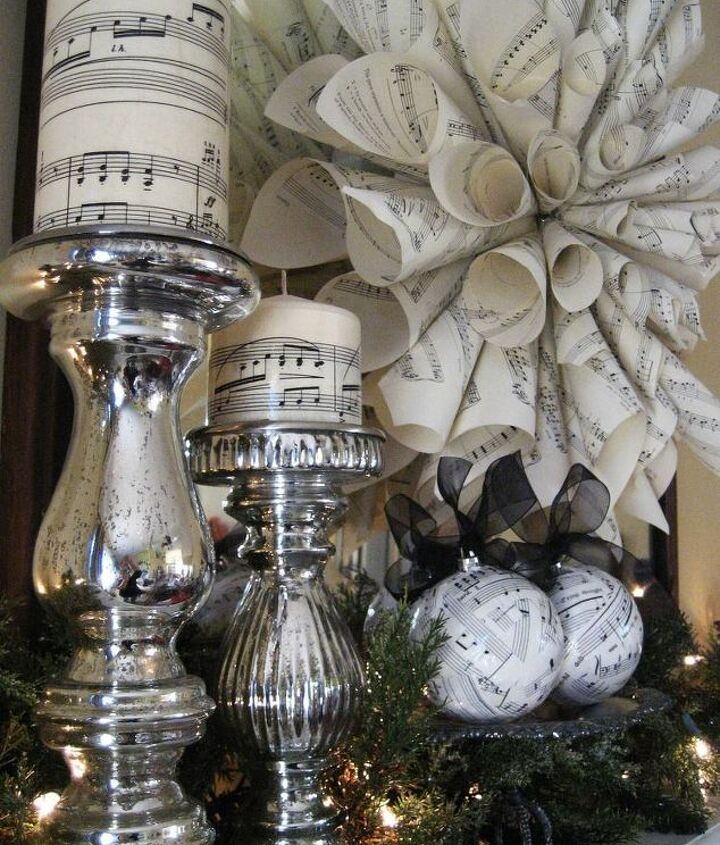 Easy to make and inexpensive sheet music decorations for Christmas