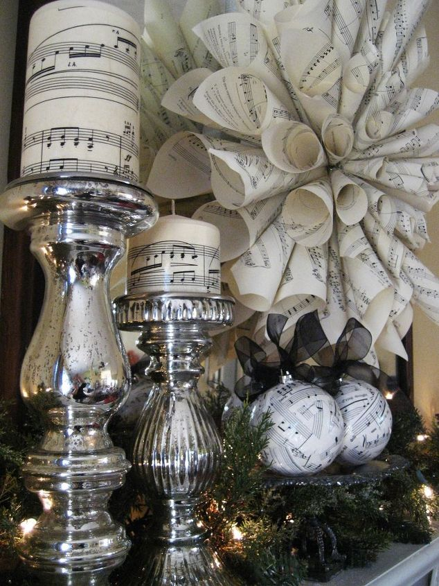 easy and inexpensive christmas decorations from sheet music, christmas decorations, crafts, seasonal holiday decor, wreaths, Easy to make and inexpensive sheet music decorations for Christmas