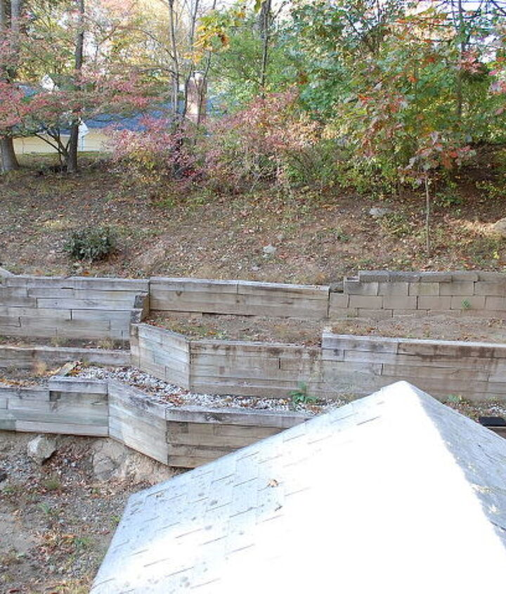 Before Picture with RR ties and concrete walls