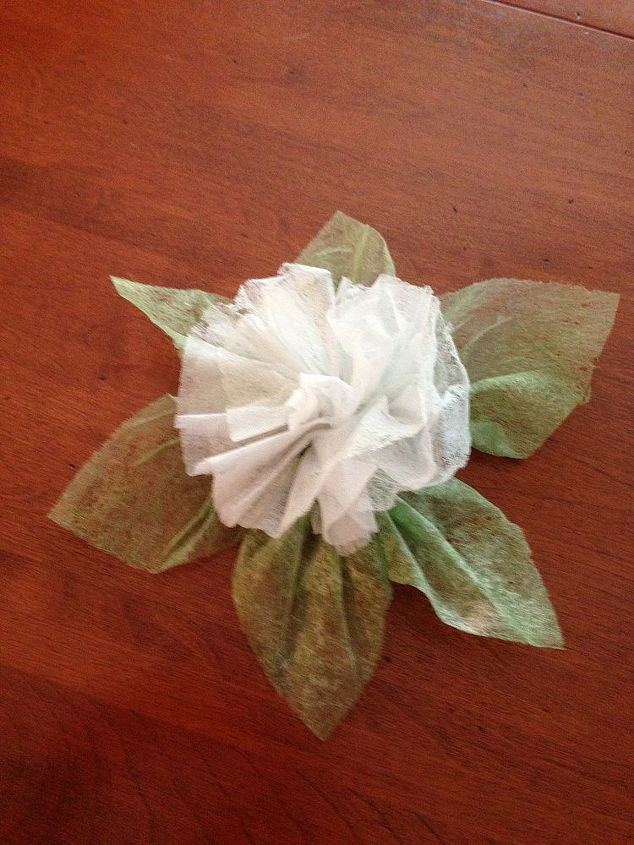 The finished product. For the flower I just folded three dryer sheets lengthwise, folded them in half and tied them off. Then fluffed them up. Just like we used to make tissue flowers in school.