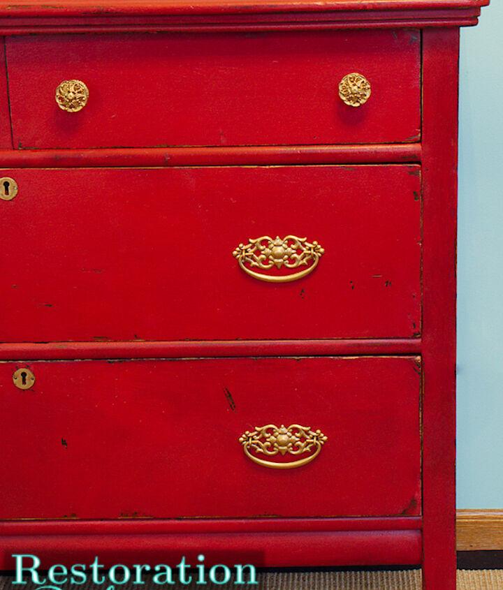 vintage red chalkpainted dresser, painted furniture