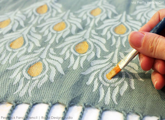 Stenciling fabric has never been easier! http://www.royaldesignstudio.com/blogs/stencil-ideas/10301865-a-pretty-handy-girl-stencils-stylish-scarves-for-holiday-gifts