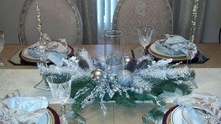 silver evergreen centerpiece using dollar tree glass vase, seasonal holiday decor