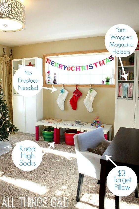 We don't have a fireplace, so our stockings are hung from the window with care.  Underneath, our $8 IKEA LACK tables get a colorful and cozy look for Christmas thanks to some knee-high socks.