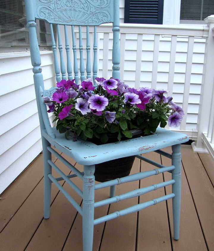 Furniture. Turn a chair into a planter for your garden. Remove the seat (or cut a hole in it), add chicken wire for a frame to hold your flowers and you're ready to plant!